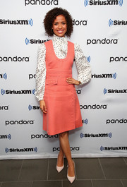 Gugu Mbatha-Raw finished off her ensemble with a pair of ecru pumps.