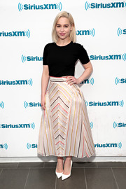 Emilia Clarke donned a simple black tee for her visit to SiriusXM's Town Hall.