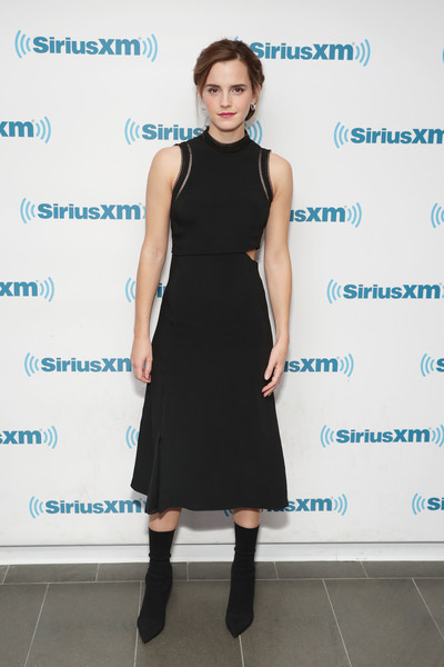 Emma Watson looked hip in a black cutout dress by 3.1 Phillip Lim while visiting SiriusXM's 'Town Hall.'