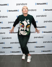 Emma Thompson stayed cozy in a graphic sweater at the SiriusXM Town Hall Special.