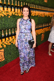 Bellamy Young attended the Veuve Clicquot Polo Classic looking ladylike in a floral maxi dress by Shoshanna.