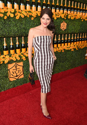 Selma Blair was monochrome-chic in a strapless plaid dress at the Veuve Clicquot Polo Classic.