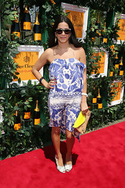 Rebecca Minkoff looked ready for a day in the sun when she sported this purple floral frock.