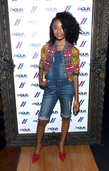 Skai Jackson Overalls [clothing,denim,jeans,fashion,footwear,fashion design,textile,shoe,long hair,black hair,drake,skai jackson,hyde staples center,california,aquahydrate hosts,aquahydrate,event,event,concert,concert]