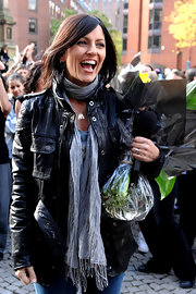 Davina McCall was rocker-chic in a black leather jacket on 'Just Dance.'