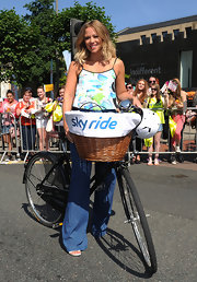 Kimberley Walsh kept her look girly with a print camisole when she participated in the Sky Ride Leeds cycling event.