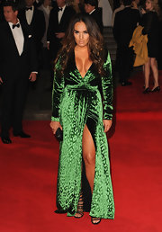 Tamara Ecclestone vamped it up at the 'Skyfall' premiere in this green velvet gown.