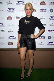 Ashley Roberts chose a pair of black leather shorts to add some edge to her monochromatic look.