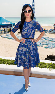 A lovely lace blue dress gave Katy Perry a fun and flirty look at 'The Smurfs 2' promo event in Cancun.