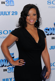 Kimberley Locke dazzled at 'The Smurfs' premiere in a black dress that she paired with soft curls and full lashes. She finished off the look with a black crystal cocktail ring.