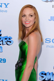 Jayma Mays paired her bright green Reem Acra mini dress with a super straight 'do for 'The Smurfs' premiere in New York City.
