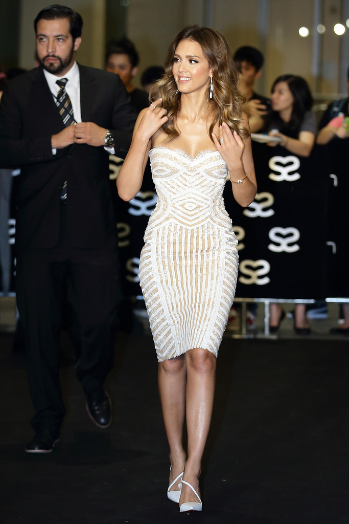American television and film actress and model, Jessica Marie Alba walks the red carpet during the Social Star Awards 2013 at Marina Bay Sands on May 23, 2013 in Singapore.