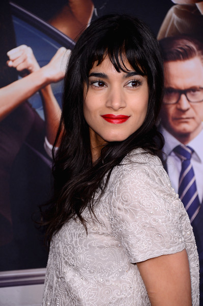 Sofia Boutella Red Lipstick [kingsman: the secret service,hair,lip,lady,hairstyle,beauty,black hair,long hair,cool,photography,bangs,sofia boutella,nyc,sva theater,new york premiere]