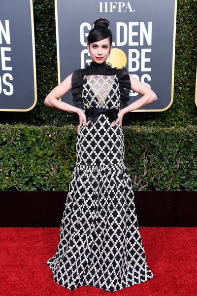 Sofia Carson Embroidered Dress [red carpet,carpet,dress,clothing,fashion model,flooring,fashion,premiere,gown,black-and-white,arrivals,sofia carson,the beverly hilton hotel,beverly hills,california,golden globe awards]