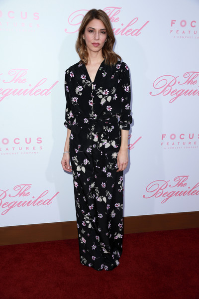 Sofia Coppola Print Blouse [the beguiled,clothing,dress,carpet,red carpet,hairstyle,flooring,fashion,premiere,long hair,style,arrivals,sofia coppola,writer,los angeles,california,focus features,directors guild of america,premiere,premiere]