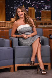 Sofia Vergara sheathed her curvy physique in a strapless silver and white dress by Roland Mouret for her appearance on 'Jimmy Fallon.'