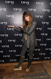 Lake Bell attended the 2011 Sundance opening in flat olive suede boots with rubber soles.