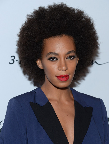 Solange Knowles Afro [hair,hairstyle,face,lip,beauty,afro,black hair,jheri curl,lace wig,phillip lim,solange knowles,new york city,target,spring studio,launch event]