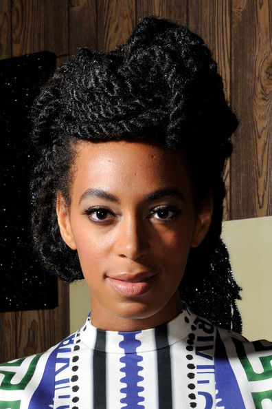 Solange Knowles Braided Updo [solange knowles performs at better days,better days,hair,beauty,hairstyle,black hair,afro,girl,hair coloring,mary katrantzou,solange knowles,mickalene thomas,art basel,switzerland,absolut art bureau at art basel,art bar installation]