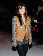 Kristi Yamaguchi donned a leather vest over a lacy blouse at the Son Jung Wan show.
