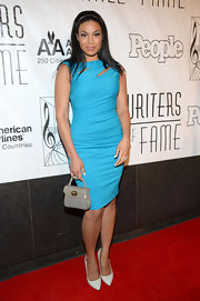 Jordin Sparks wore a bright sky blue cocktail dress at the Songwriters Hall of Fame Induction Ceremony.