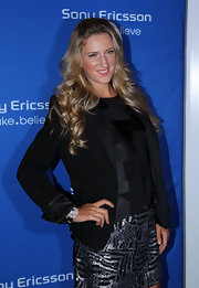 Victoria Azarenka wore her hair in long, bouncy curls for a party in Florida.