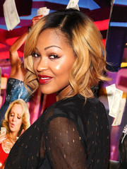 Meagan Good sported a curly bob with dark roots at the Washington, DC screening of 'Think Like a Man Too.'