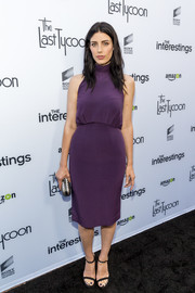 Jessica Pare donned a sleeveless, high-neck purple dress for the Sony Pictures Social Soiree.