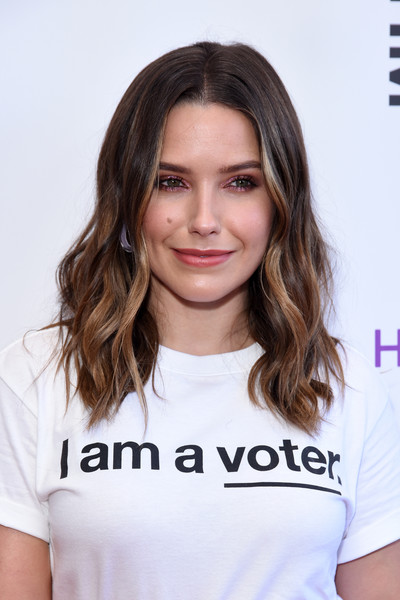 Sophia Bush Medium Wavy Cut [hair,face,hairstyle,shoulder,eyebrow,brown hair,clothing,chin,beauty,skin,beverly hills,california,the beverly hilton hotel,national womens history museums 7th annual women making history awards,sophia bush]