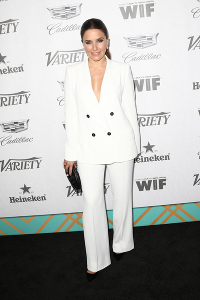Sophia Bush Pantsuit [variety and women in film,variety and women in films 2018 pre-emmy celebration,suit,clothing,white,pantsuit,red carpet,formal wear,carpet,fashion,tuxedo,premiere,sophia bush,arrivals,west hollywood,california,cecconi,2018 pre-emmy celebration]