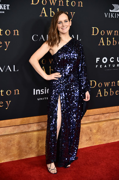Sophie Mcshera One Shoulder Dress [downton abbey,clothing,red carpet,carpet,dress,premiere,hairstyle,fashion,shoulder,flooring,long hair,sophie mcshera,new york,alice tully hall,lincoln center,premiere,new york premiere]
