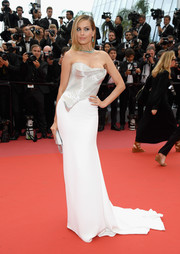Petra Nemcova glammed it up in a Cristina Ottaviano strapless gown with a sculpted metallic bodice at the Cannes Film Festival screening of 'Sorry Angel.'