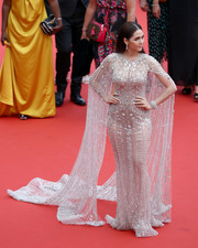 Araya A. Hargate was a stunner in a beaded and embroidered Ralph & Russo Couture gown with floor-sweeping sleeves at the Cannes Film Festival screening of 'Sorry Angel.'