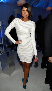 Leah LaBelle showed off her enviable figure in a flirty striped body-con dress at the 2012 Soul Train Awards.