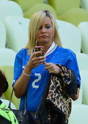 Valeria Maggio rocked a trendy shoulder-length layered cut at the UEFA Euro 2012.