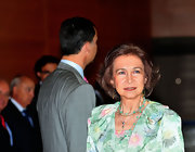 This green beaded necklace is worn in two layers.  The colors perfectly complement Queen Sofia's dress.