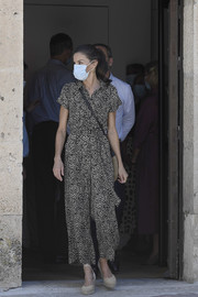 Queen Letizia kept it relaxed in a printed jumpsuit by Mango while visiting Old Town in Cuenca, Spain.