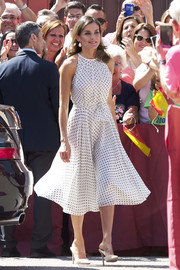 Queen Letizia of Spain donned a pair of nude mules with broad PVC straps for the 210th anniversary of the Bailen Battle.