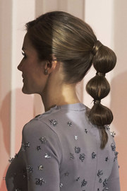 Queen Letizia of Spain got playful with this segmented ponytail when she attended the Europa Press Agency 60th anniversary.