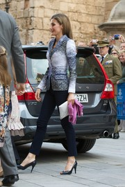Princess Letizia looked very refined in fitted blue and white jacket while attending Easter Mass.
