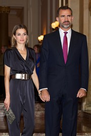 Princess Letizia brought a funky vibe to the Francisco Cerecedo Journalism Award with this black jumpsuit styled with a thick gold belt.