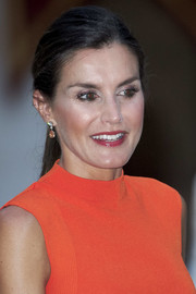 Queen Letizia accessorized with a pair of gemstone drop earrings for a more elegant finish.