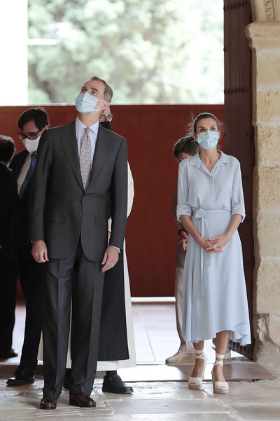 Queen Letizia of Spain kept it simple yet stylish in a baby-blue shirtdress by Pedro del Hierro while visiting the Royal Monastery of Santa Maria de Poblet.