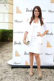 Kimberly kept her look totally monochromatic when she sported a white dress and a crisp matching blazer.