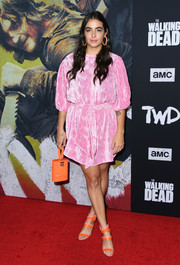 Alanna Masterson donned a puff-sleeved pink cocktail dress from Ganni for the special screening of 'The Walking Dead' season 10.