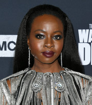 Danai Gurira wore flat-ironed tresses at the special screening of 'The Walking Dead' season 10.