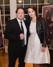 Keira Knightley attended a special screening of 'The Imitation Game' rocking a black leather moto jacket by Balenciaga.