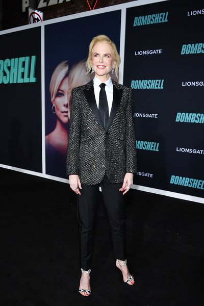 Nicole Kidman suited up in a micro-beaded blazer by Saint Laurent for the special screening of 'Bombshell.'