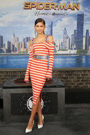 Zendaya Coleman looked hip in a striped, cold-shoulder sweater dress by Altuzarra at the 'Spider-Man: Homecoming' photocall.