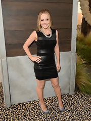 Kelly Stables chose a black leather paneled dress for her look at Spike TV's 'Guys Choice 2013.'